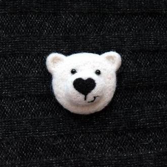 Мишка белый брошь, брошка полярный медведь,