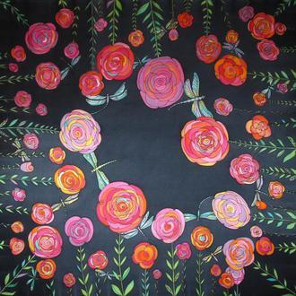 Шелковый платок с розами и стрекозами, батик платок, шовкова хустина
