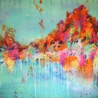 Атласный платок с абстрактным осенним пейзажем, горячий батик, шовкова хустина