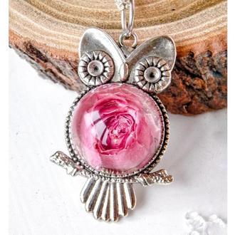 Кулон с сухоцветом розы, сова с розовой розой, кулон из эпоксидной смолы, подарок для девушки