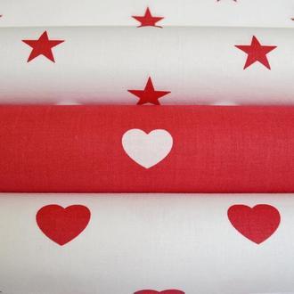 Набор хлопковых тканей 50*50 см из 3 штук красно-белые звёзды и сердца