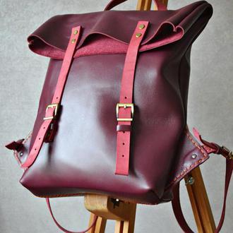 Женский кожаный рюкзак (Бордо)