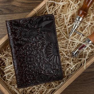 """Обложка для паспорта  HiArt PC-01 Crystal Brown Silk """"Mehendi Art"""""""