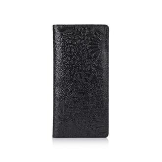 """Черный Кожаный Бумажник Hi Art WP-02 Crystal Panther """"Mehendi Art"""""""