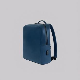 """Кожаный рюкзак для 13""""/15.6"""" ноутбука с внешним USB-портом и автоматическим брелком для ключей"""