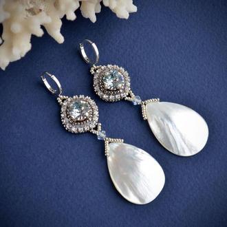 Свадебные серьги с перламутром и кристаллами Сваровски, праздничные серьги, перламутровые серьги