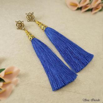 Серьги-кисти синие, ажурные пуссеты (арт. 086)