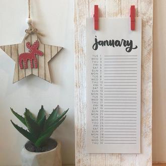 Дизайнерский календарь с красными прищепками на 2019 год