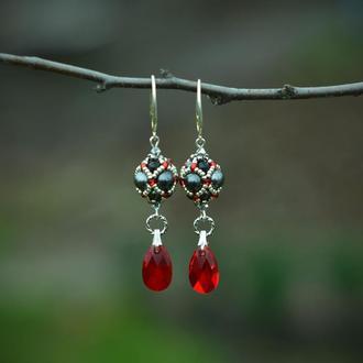 Серьги из жемчуга Сваровски , жемчужные серьги, красно-черные серьги
