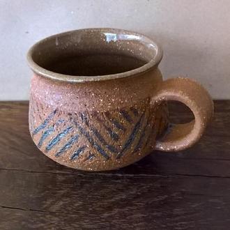 Чашка керамическая гончарная.
