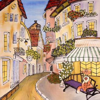 Картина батік Прага 55х65
