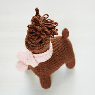 Подарунок  на день народження дівчинки в'язана іграшка Лама. Для новонародженої