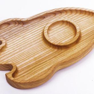 Деревянная тарелка Ракета