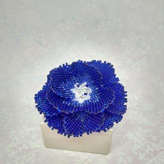 """Брошка-цветок """"Фиалка"""" в синем цвете."""