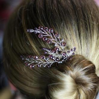 Сливовый шпильки для волос 2 штуки
