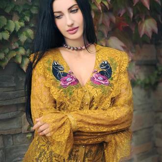 """Золотистая гипюровая блуза с вышивкой """"Чёрная пантера"""" женская вышиванка"""