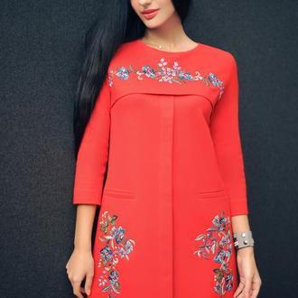 """Трикотажное платье с вышивкой """"Алое"""" вышиванка ,  вышиванка, нарядное платье"""