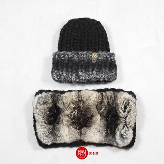Вязаный снуд с натуральным мехом шиншиллы и шапка с отворотом