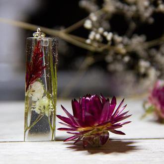 Кулон-кристалл из эпоксидной смолы с настоящими цветами (оригинальный подарок, тренд 2019)