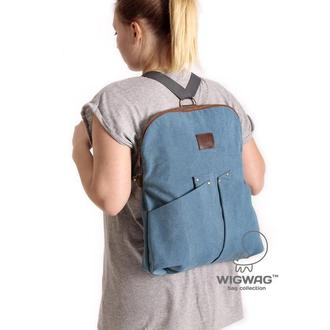 Сумка из голубого канваса и натуральной кожи, женская сумка-рюкзак