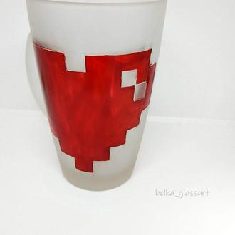 Чашка матовая Пиксельное сердце