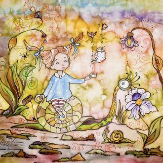 Картина батик Алиса в стране чудес 45х45