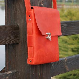 Красная кожаная сумка через плечо с24 (10 цветов)