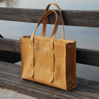 Жёлтая женская сумка из натуральной кожи (10 цветов),  кожаная сумка для женщин на молнии.
