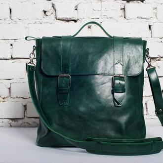 Кожаная сумка DREAM унисекс (зеленая)