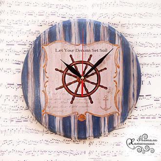 Деревянные часы в морском стиле