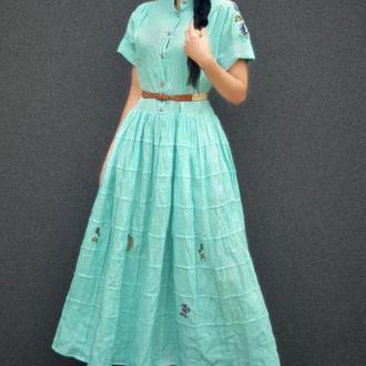 """Длинное платье с вышивкой """"Нежная бирюза""""  бохо платье , вышиванка , стильная вышиванка"""