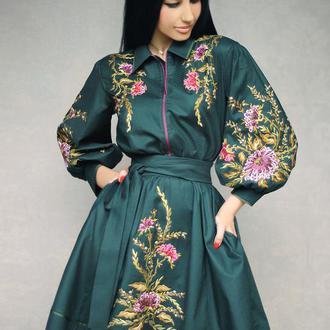 """Платье с  вышивкой """"Хризантема в изумруде"""" вышиванка , вышитое платье , нарядное платье"""