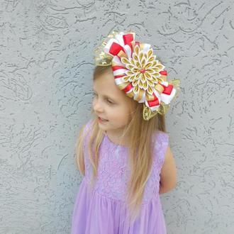 Ободок для девочки конфетка на утренник Обруч из атласных лент на голову на Новый год