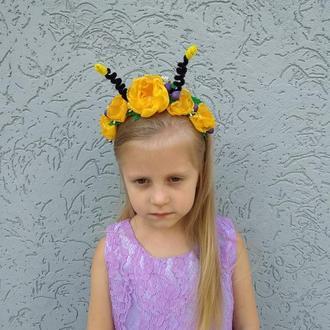 Ободок для волос с цветами для утренника Костюм пчёлки Обруч на голову для девочки с усиками
