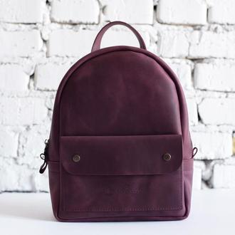 Женский кожаный рюкзак KID Backpack бордового цвета