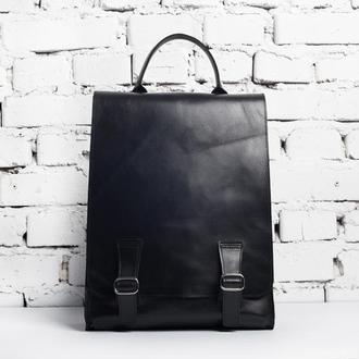 Кожаный рюкзак унисекс Steve Backpack (черный)