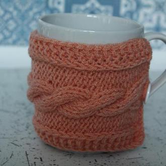 Вязаный чехол свитер для чашки