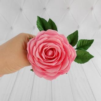 Шпилька с розовой розой свадебная Цветы в прическу невесте Стильное украшение в волосы