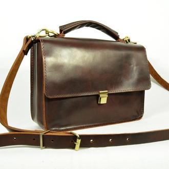 Кожаная женская сумка, Сумка через плечо цвет вишня, Кожаная летняя сумочка