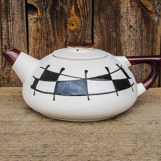 "Чайник великий, декор ""Галаретка"" чорно-білий"