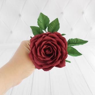 Шпилька с розой бургунди свадебная Цветы в прическу невесте Стильное украшение в волосы