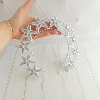Ободок корона серебренный Костюм звёздочки Обруч для волос на новогодний утренник