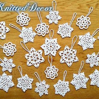 Набор вязаных снежинок Новогодние украшения Вязаные снежинки на елку