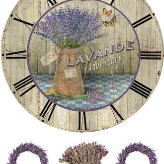 Декупажная карта Лаванда Прованс Цветы Часы Венок Бабочки 23V 55 г/м2, А4, 210Х290 мм