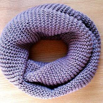 Кофейный шарф-снуд из качественной пряжи