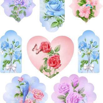 Декупажная карта Розы Цветы Винтаж Любовь Сердце 25V 55 г/м2, А4, 210Х290 мм