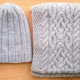 Комплект серая шапка, серый снуд с аранами