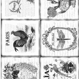 Декупажная карта Стрекоза Петух Париж Павлин Цветы Черно-белая Винтаж 26V 55 г/м2, А4, 210Х290 мм
