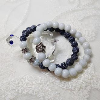 Парные браслеты из натуральных камней. Парні браслети із натуральних каменів.