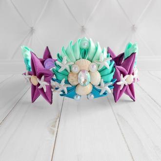 Ободок корона для девочки на фотосессию Костюм русалки Обруч для волос в подарок